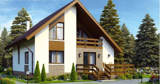 Дом одноэтажный мансардного типа – 151 м2 Стоимость – 2 265 000р.
